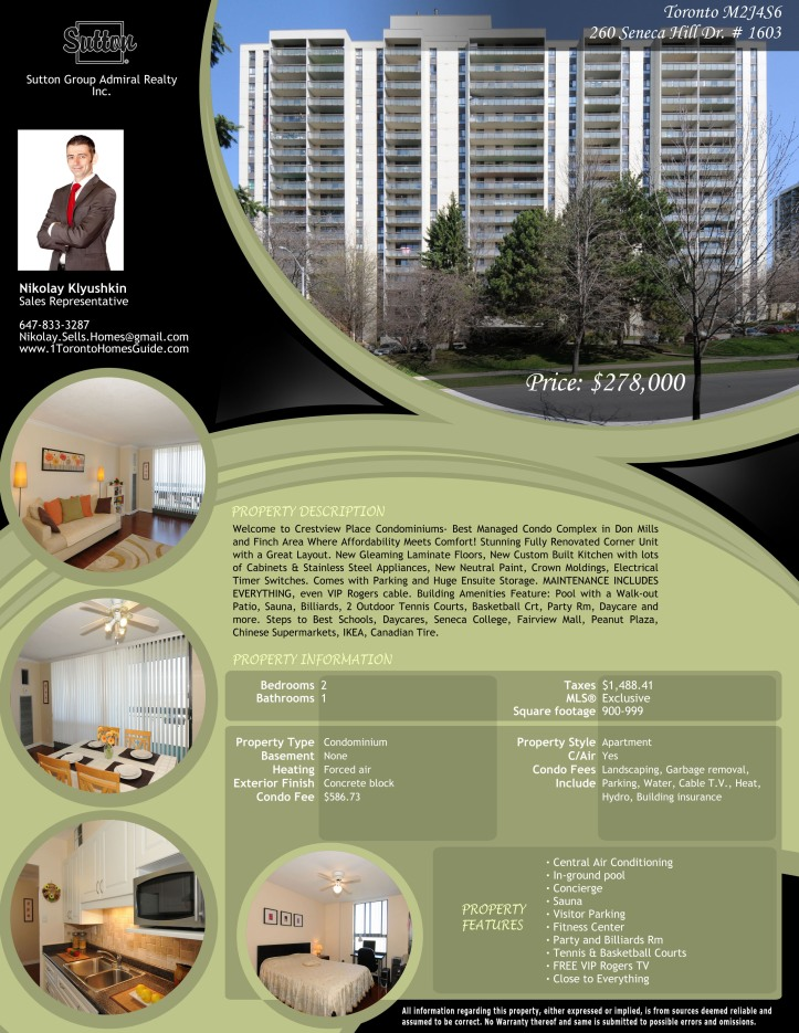 260 Seneca Hill Dr. # 1603, Toronto M2J4S6 Property Feature Shee