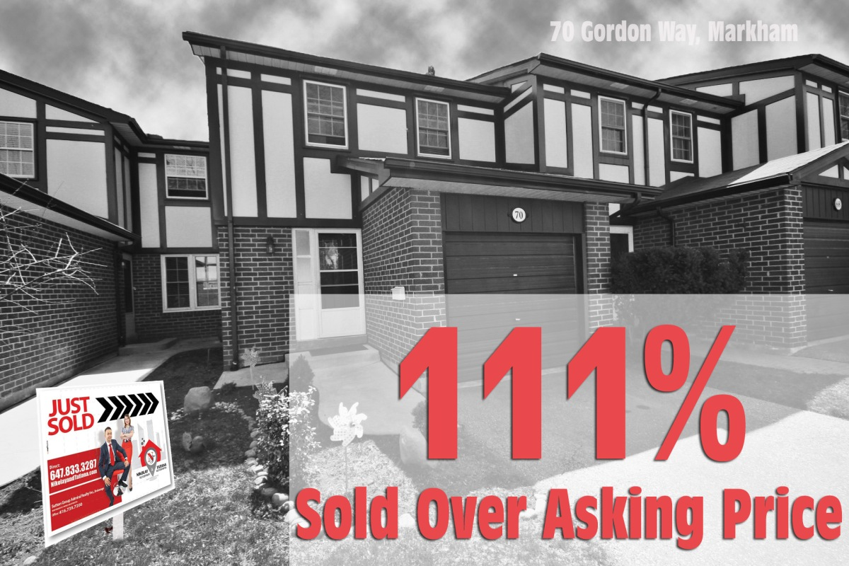 70 Gordon Way at John and Bayview - Sold 111% Over Asking